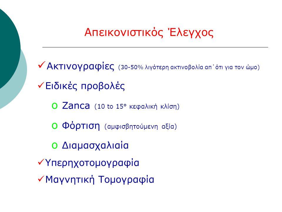 Απεικονιστικός Έλεγχος  Ακτινογραφίες (30-50% λιγότερη ακτινοβολία απ΄ότι για τον ώμο)  Ειδικές προβολές o Zanca (10 to 15° κεφαλική κλίση) o Φόρτιση (αμφισβητούμενη αξία) o Διαμασχαλιαία  Υπερηχοτομογραφία  Μαγνητική Τομογραφία