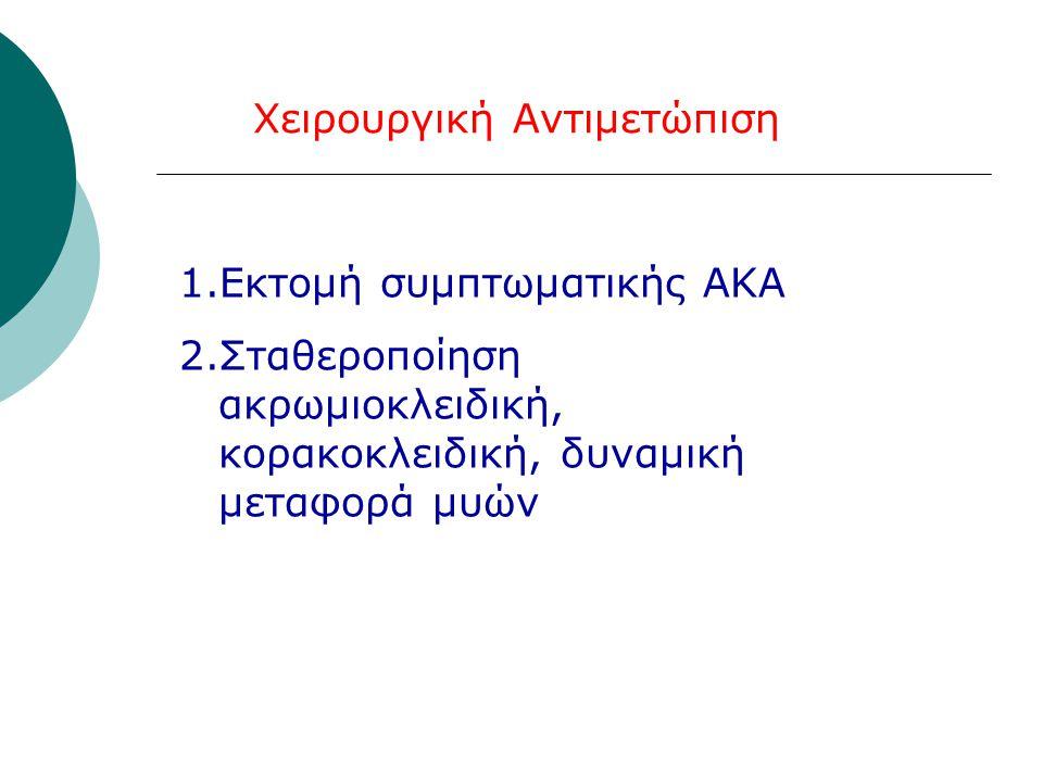 Χειρουργική Αντιμετώπιση 1.Εκτομή συμπτωματικής ΑΚΑ 2.Σταθεροποίηση ακρωμιοκλειδική, κορακοκλειδική, δυναμική μεταφορά μυών