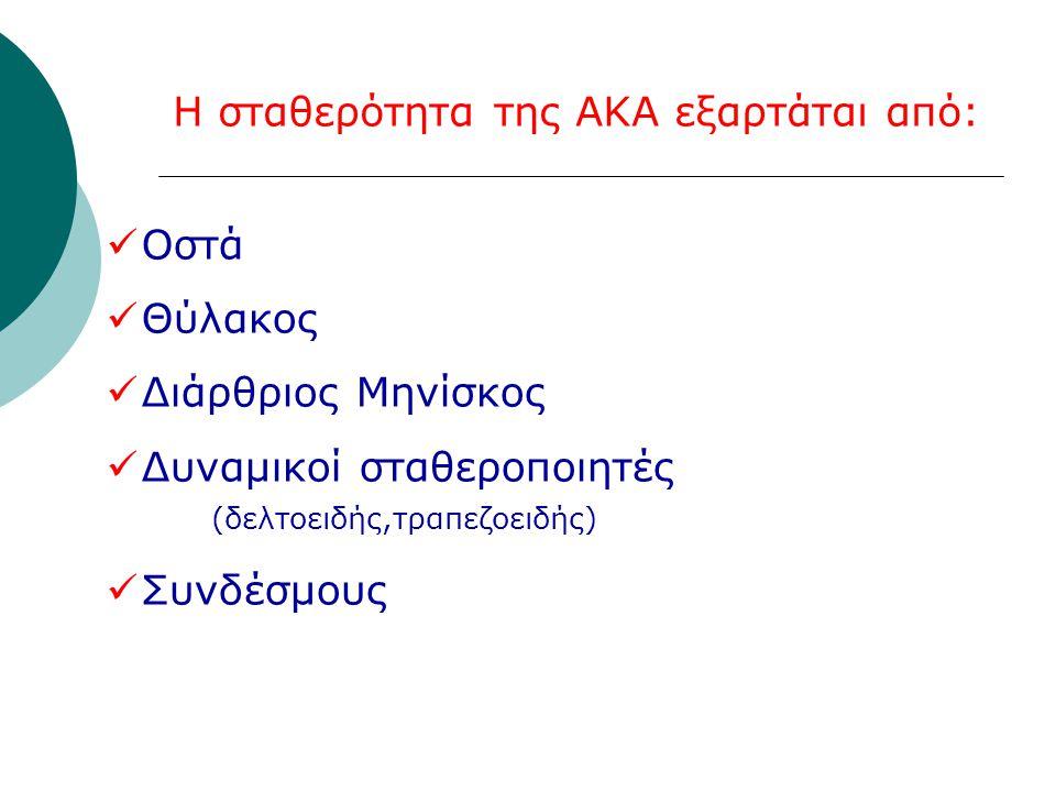 Η σταθερότητα της ΑΚΑ εξαρτάται από:  Οστά  Θύλακος  Διάρθριος Μηνίσκος  Δυναμικοί σταθεροποιητές (δελτοειδής,τραπεζοειδής)  Συνδέσμους