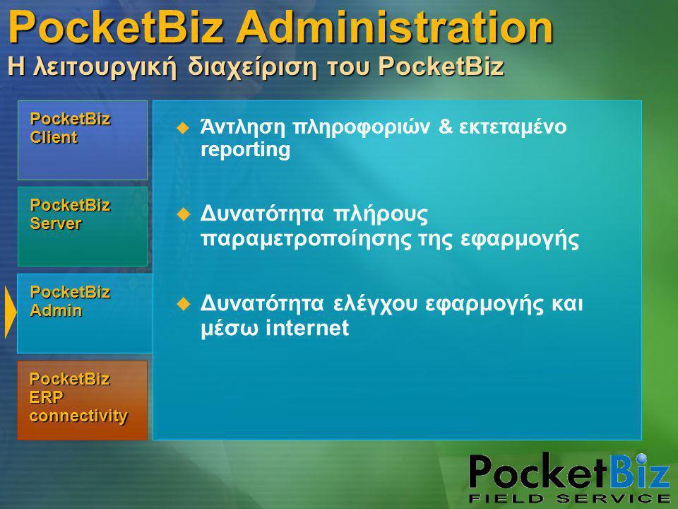 PocketBiz Admin PocketBiz Client PocketBiz Server PocketBiz ERP connectivity  Άντληση πληροφοριών & εκτεταμένο reporting  Δυνατότητα πλήρους παραμετροποίησης της εφαρμογής  Δυνατότητα ελέγχου εφαρμογής και μέσω internet PocketBiz Administration Η λειτουργική διαχείριση του PocketBiz