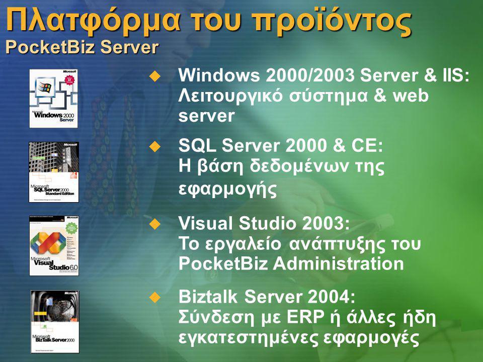 Πλατφόρμα του προϊόντος PocketBiz Server  Windows 2000/2003 Server & IIS: Λειτουργικό σύστημα & web server  SQL Server 2000 & CE: Η βάση δεδομένων της εφαρμογής  Biztalk Server 2004: Σύνδεση με ERP ή άλλες ήδη εγκατεστημένες εφαρμογές  Visual Studio 2003: Το εργαλείο ανάπτυξης του PocketBiz Administration