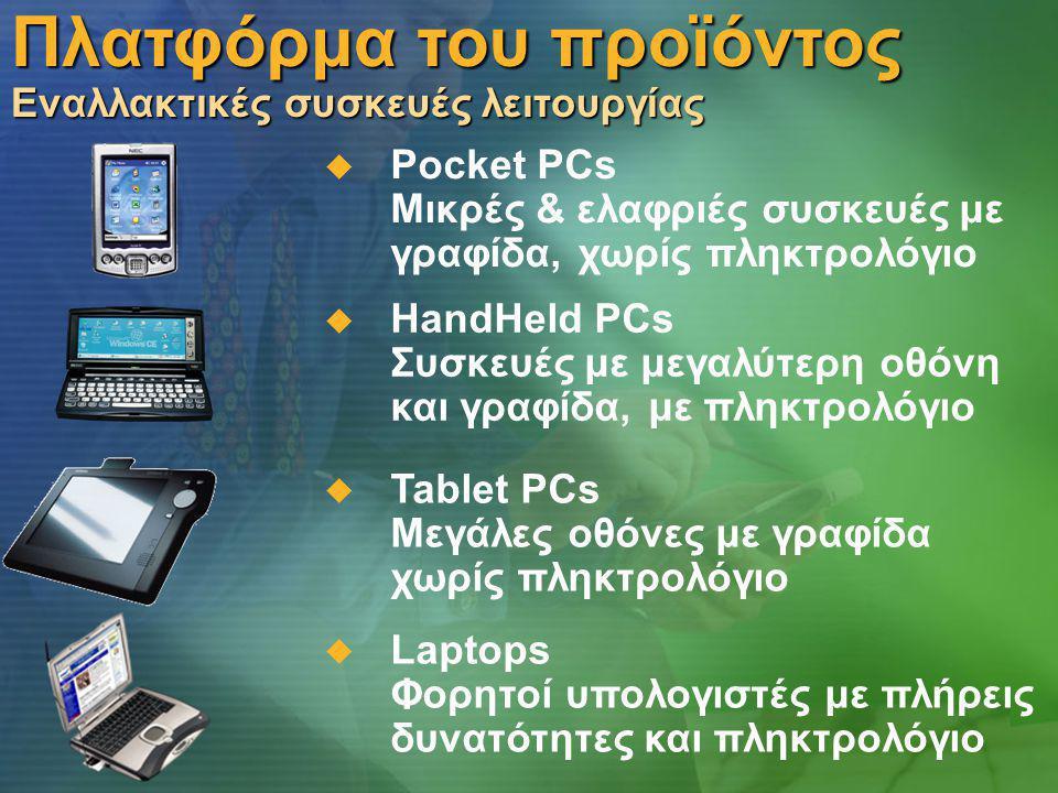 Πλατφόρμα του προϊόντος Εναλλακτικές συσκευές λειτουργίας  Pocket PCs Μικρές & ελαφριές συσκευές με γραφίδα, χωρίς πληκτρολόγιο  HandHeld PCs Συσκευές με μεγαλύτερη οθόνη και γραφίδα, με πληκτρολόγιο  Laptops Φορητοί υπολογιστές με πλήρεις δυνατότητες και πληκτρολόγιο  Tablet PCs Μεγάλες οθόνες με γραφίδα χωρίς πληκτρολόγιο