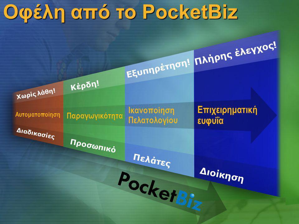 Οφέλη από το PocketBiz Παραγωγικότητα Αυτοματοποίηση Ικανοποίηση Πελατολογίου Επιχειρηματική ευφυΐα Πελάτες Προσωπικό Διοίκηση Εξυπηρέτηση.