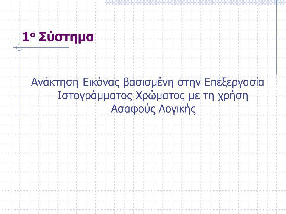 Ανάκτηση Εικόνας βασισμένη στην Επεξεργασία Ιστογράμματος Χρώματος με τη χρήση Ασαφούς Λογικής 1 ο Σύστημα