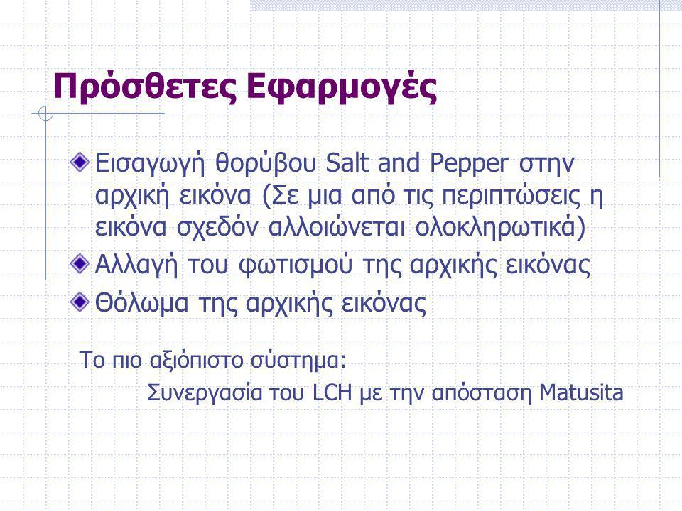 Πρόσθετες Εφαρμογές Εισαγωγή θορύβου Salt and Pepper στην αρχική εικόνα (Σε μια από τις περιπτώσεις η εικόνα σχεδόν αλλοιώνεται ολοκληρωτικά) Αλλαγή του φωτισμού της αρχικής εικόνας Θόλωμα της αρχικής εικόνας Το πιο αξιόπιστο σύστημα: Συνεργασία του LCH με την απόσταση Matusita