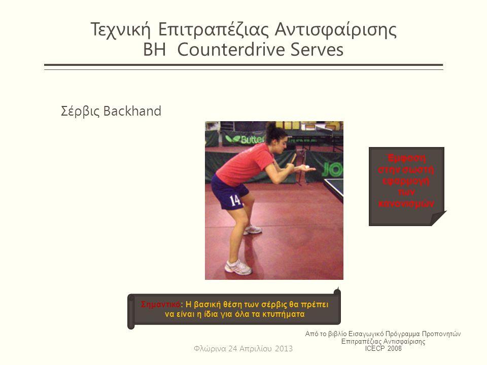 Τεχνική Επιτραπέζιας Αντισφαίρισης BH Counterdrive Serves Σέρβις Backhand Από το βιβλίο Εισαγωγικό Πρόγραμμα Προπονητών Επιτραπέζιας Αντισφαίρισης ICE