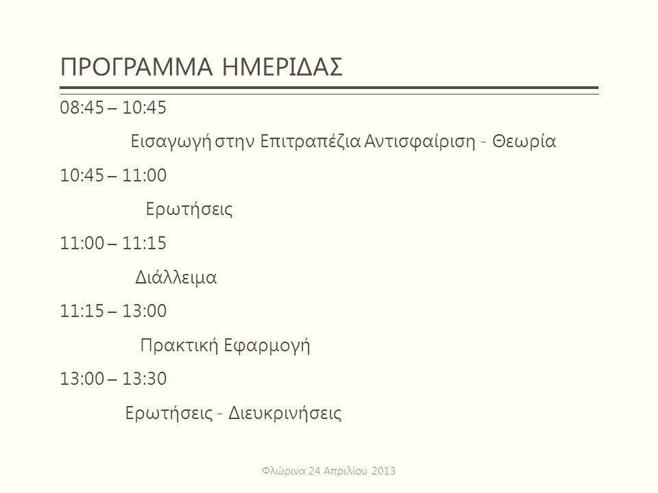 ΠΡΟΓΡΑΜΜΑ ΗΜΕΡΙΔΑΣ 08:45 – 10:45 Εισαγωγή στην Επιτραπέζια Αντισφαίριση - Θεωρία 10:45 – 11:00 Ερωτήσεις 11:00 – 11:15 Διάλλειμα 11:15 – 13:00 Πρακτικ