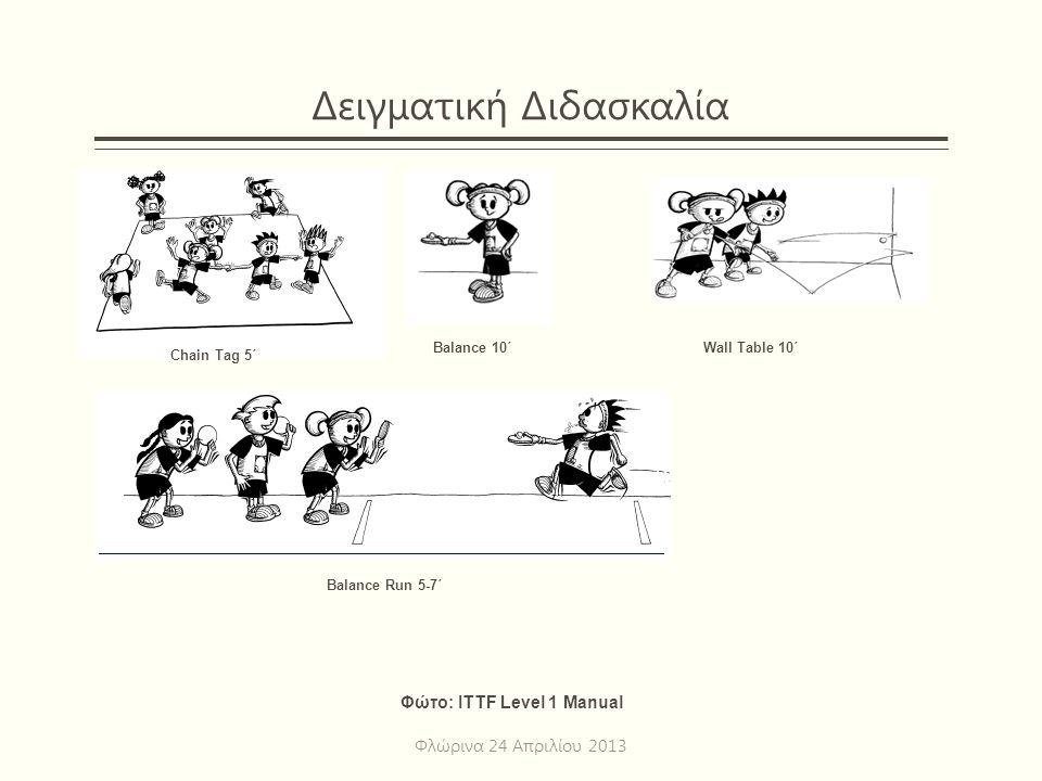 Δειγματική Διδασκαλία Φλώρινα 24 Απριλίου 2013 Chain Tag 5΄ Φώτο: ITTF Level 1 Manual Balance 10΄ Balance Run 5-7΄ Wall Table 10΄