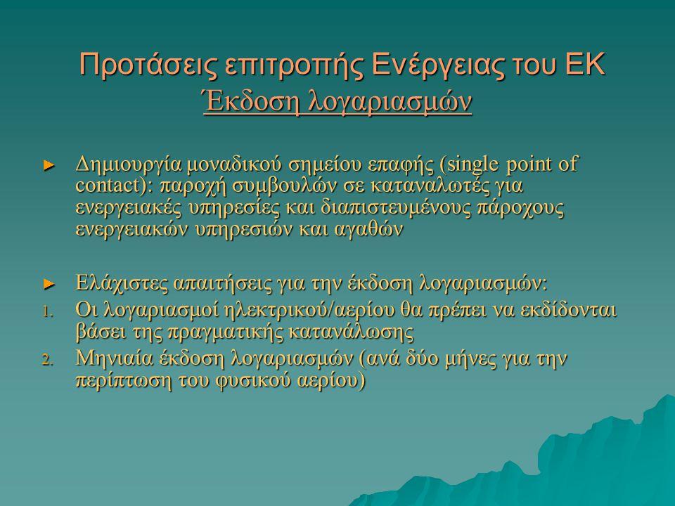 Προτάσεις επιτροπής Ενέργειας του ΕΚ Έκδοση λογαριασμών Προτάσεις επιτροπής Ενέργειας του ΕΚ Έκδοση λογαριασμών ► Δημιουργία μοναδικού σημείου επαφής (single point of contact): παροχή συμβουλών σε καταναλωτές για ενεργειακές υπηρεσίες και διαπιστευμένους πάροχους ενεργειακών υπηρεσιών και αγαθών ► Ελάχιστες απαιτήσεις για την έκδοση λογαριασμών: 1.