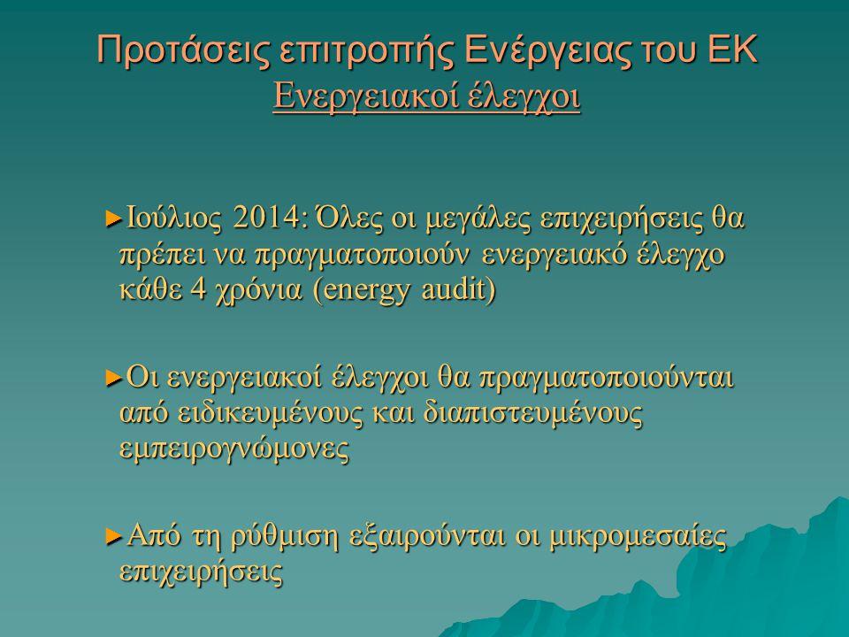 Προτάσεις επιτροπής Ενέργειας του ΕΚ Ενεργειακοί έλεγχοι ► Ιούλιος 2014: Όλες οι μεγάλες επιχειρήσεις θα πρέπει να πραγματοποιούν ενεργειακό έλεγχο κάθε 4 χρόνια (energy audit) ► Οι ενεργειακοί έλεγχοι θα πραγματοποιούνται από ειδικευμένους και διαπιστευμένους εμπειρογνώμονες ► Από τη ρύθμιση εξαιρούνται οι μικρομεσαίες επιχειρήσεις