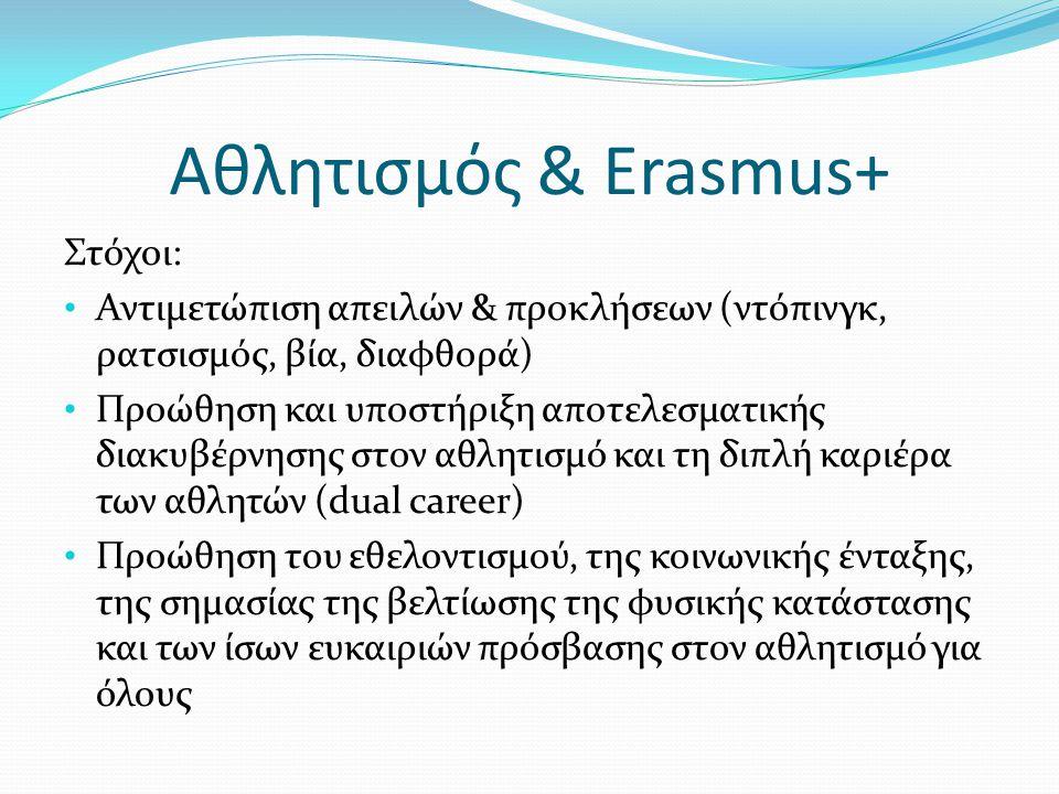 Αθλητισμός & Erasmus+ Στόχοι: • Αντιμετώπιση απειλών & προκλήσεων (ντόπινγκ, ρατσισμός, βία, διαφθορά) • Προώθηση και υποστήριξη αποτελεσματικής διακυ
