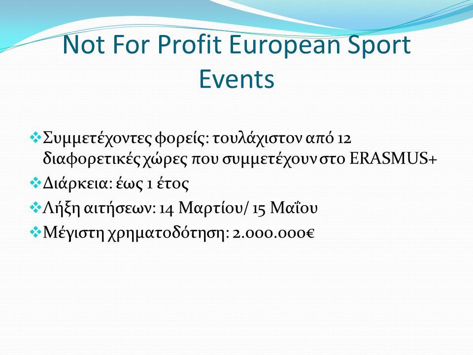 Not For Profit European Sport Events  Συμμετέχοντες φορείς: τουλάχιστον από 12 διαφορετικές χώρες που συμμετέχουν στο ERASMUS+  Διάρκεια: έως 1 έτος