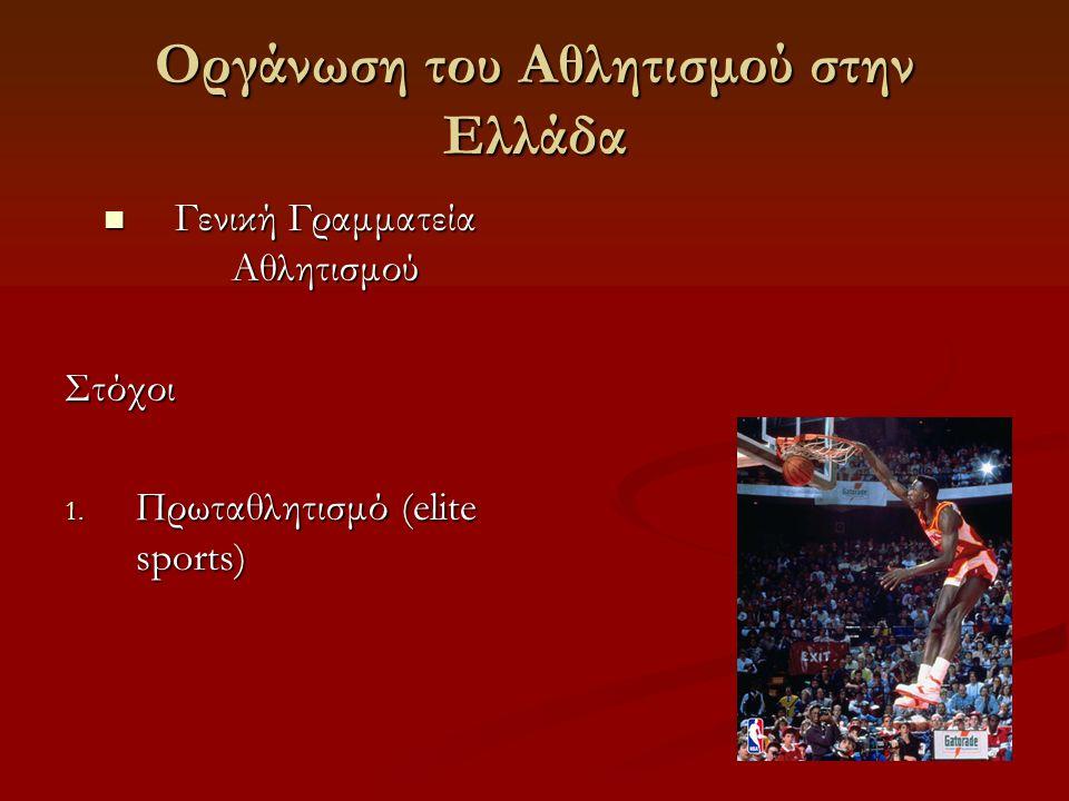 Οργάνωση του Αθλητισμού στην Ελλάδα  Γενική Γραμματεία Αθλητισμού Στόχοι 1.