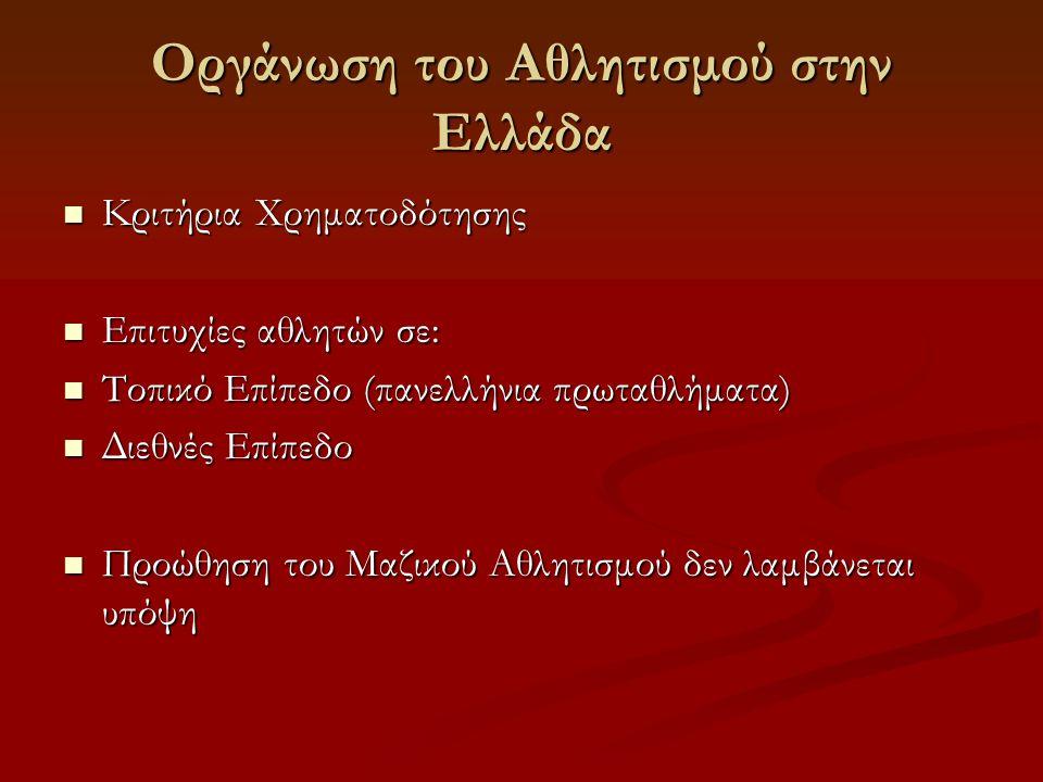 Οργάνωση του Αθλητισμού στην Ελλάδα  Κριτήρια Χρηματοδότησης  Επιτυχίες αθλητών σε:  Τοπικό Επίπεδο (πανελλήνια πρωταθλήματα)  Διεθνές Επίπεδο  Προώθηση του Μαζικού Αθλητισμού δεν λαμβάνεται υπόψη