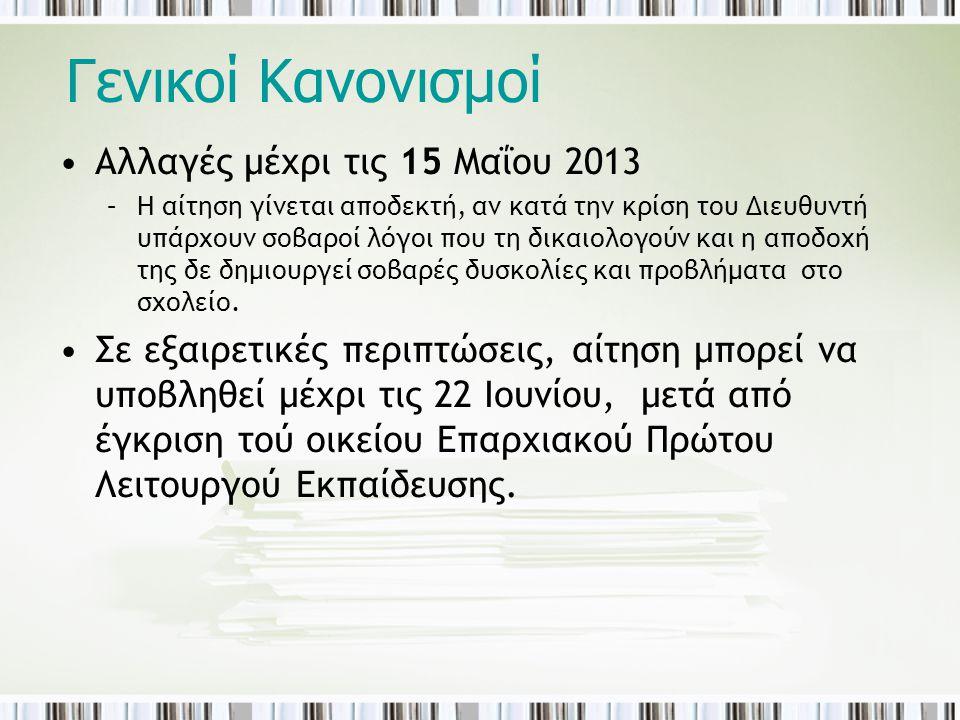 Γενικοί Κανονισμοί •Αλλαγές μέχρι τις 15 Μαΐου 2013 –Η αίτηση γίνεται αποδεκτή, αν κατά την κρίση του Διευθυντή υπάρχουν σοβαροί λόγοι που τη δικαιολο