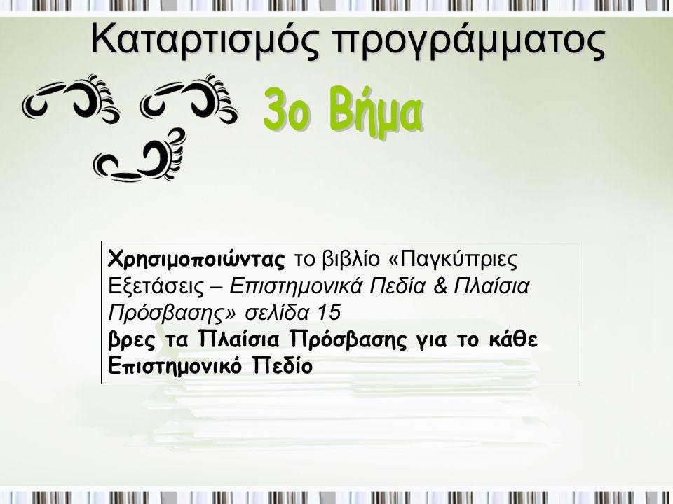 Καταρτισμός προγράμματος Χρησιμοποιώντας το βιβλίο «Παγκύπριες Εξετάσεις – Επιστημονικά Πεδία & Πλαίσια Πρόσβασης» σελίδα 15 βρες τα Πλαίσια Πρόσβασης