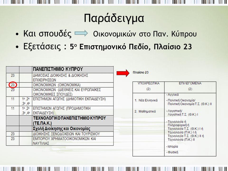 Παράδειγμα •Και σπουδές Οικονομικών στο Παν. Κύπρου •Εξετάσεις : 5 ο Επιστημονικό Πεδίο, Πλαίσιο 23