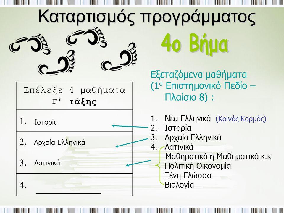 Καταρτισμός προγράμματος Επέλεξε 4 μαθήματα Γ' τάξης 1.1. 2.2. 3.3. 4.4. Εξεταζόμενα μαθήματα (1 ο Επιστημονικό Πεδίο – Πλαίσιο 8) : 1.Νέα Ελληνικά 2.