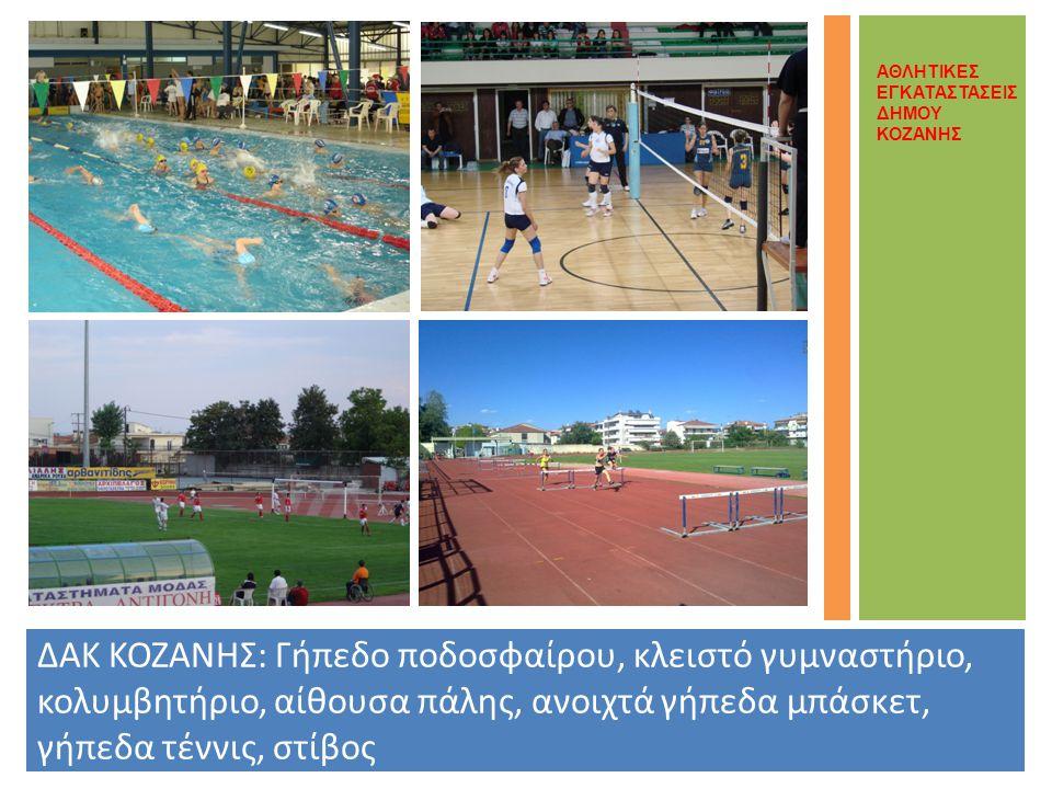 ΔΑΚ ΚΟΖΑΝΗΣ: Γήπεδο ποδοσφαίρου, κλειστό γυμναστήριο, κολυμβητήριο, αίθουσα πάλης, ανοιχτά γήπεδα μπάσκετ, γήπεδα τέννις, στίβος ΑΘΛΗΤΙΚΕΣ ΕΓΚΑΤΑΣΤΑΣΕΙΣ ΔΗΜΟΥ ΚΟΖΑΝΗΣ