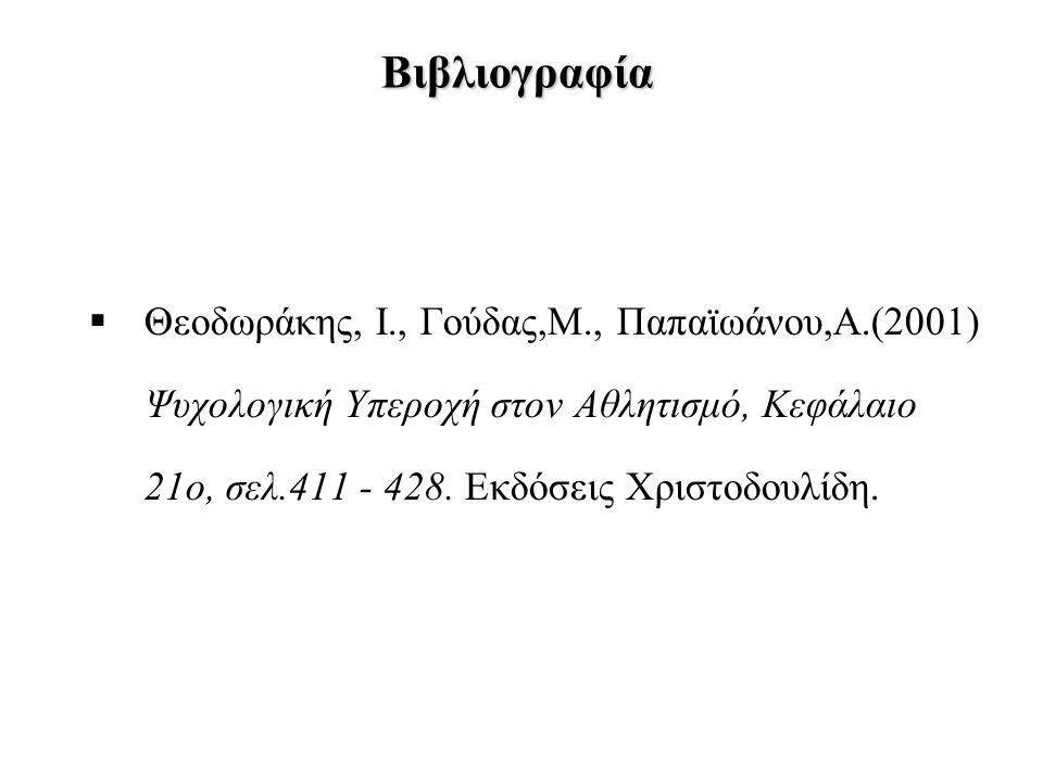 Βιβλιογραφία  Θεοδωράκης, Ι., Γούδας,Μ., Παπαϊωάνου,Α.(2001) Ψυχολογική Υπεροχή στον Αθλητισμό, Κεφάλαιο 21ο, σελ.411 - 428. Εκδόσεις Χριστοδουλίδη.