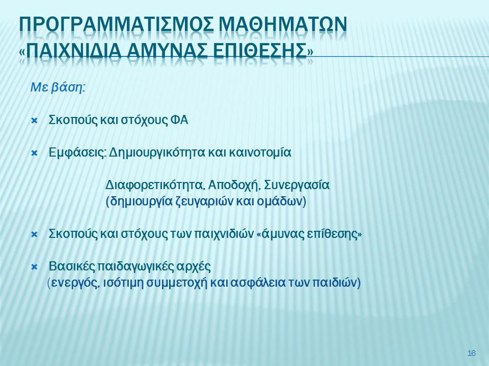 Με βάση:  Σκοπούς και στόχους ΦΑ  Εμφάσεις: Δημιουργικότητα και καινοτομία Διαφορετικότητα, Αποδοχή, Συνεργασία (δημιουργία ζευγαριών και ομάδων) 