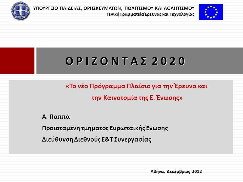 « Το νέο Πρόγραμμα Πλαίσιο για την Έρευνα και την Καινοτομία της Ε. Ένωσης » Α. Παππά Προϊσταμένη τμήματος Ευρωπαϊκής Ένωσης Διεύθυνση Διεθνούς Ε & Τ