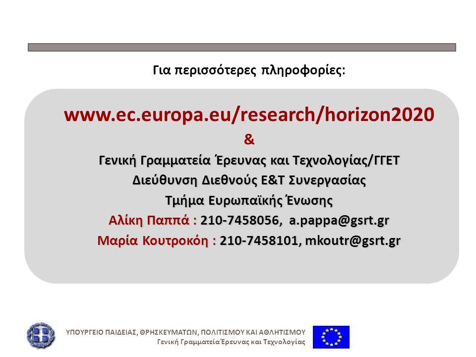 Για περισσότερες πληροφορίες: www.ec.europa.eu/research/horizon2020 & Γενική Γραμματεία Έρευνας και Τεχνολογίας/ΓΓΕΤ Διεύθυνση Διεθνούς Ε&Τ Συνεργασία