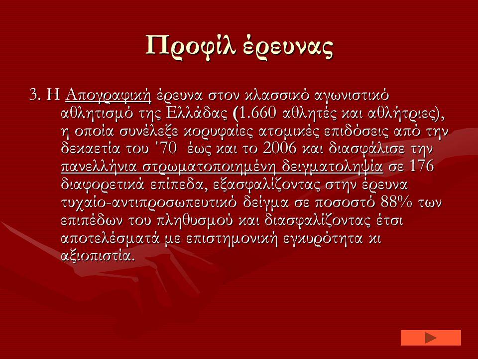 Προφίλ έρευνας 3. Η Απογραφική έρευνα στον κλασσικό αγωνιστικό αθλητισμό της Ελλάδας (1.660 αθλητές και αθλήτριες), η οποία συνέλεξε κορυφαίες ατομικέ