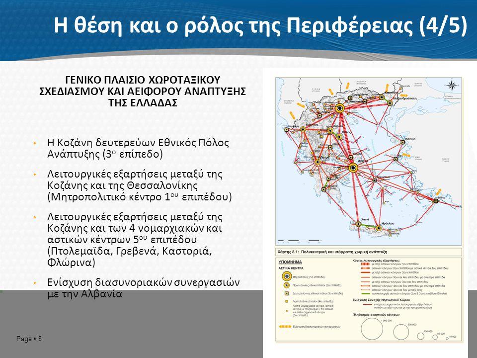 Page  9 Η θέση και ο ρόλος της Περιφέρειας (5/5) ΓΕΝΙΚΟ ΠΛΑΙΣΙΟ ΧΩΡΟΤΑΞΙΚΟΥ ΣΧΕΔΙΑΣΜΟΥ ΚΑΙ ΑΕΙΦΟΡΟΥ ΑΝΑΠΤΥΞΗΣ ΤΗΣ ΕΛΛΑΔΑΣ Εταιρική σχέση της Περιφέρειας Δυτικής Μακεδονίας με την Περιφέρεια Κεντρικής Μακεδονίας
