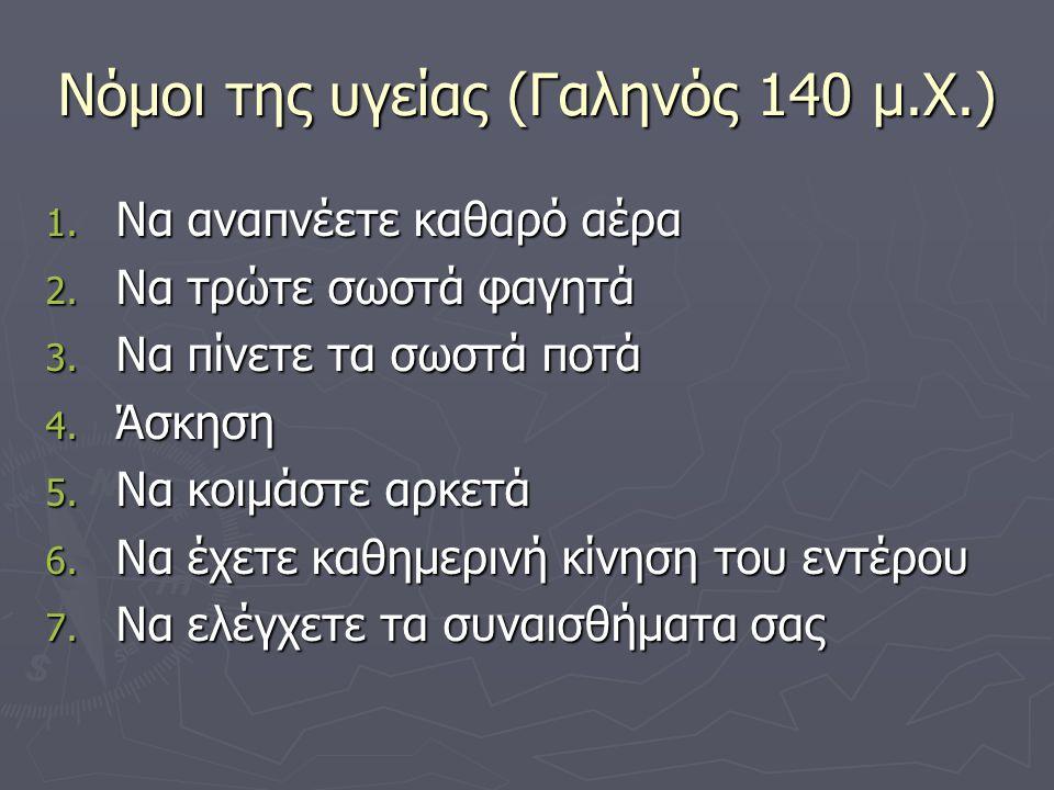Νόμοι της υγείας (Γαληνός 140 μ.Χ.) 1.Να αναπνέετε καθαρό αέρα 2.