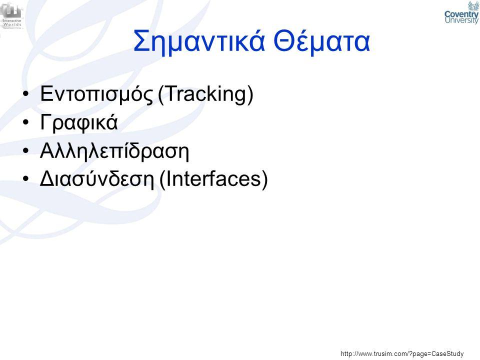 Σημαντικά Θέματα •Εντοπισμός (Tracking) •Γραφικά •Αλληλεπίδραση •Διασύνδεση (Interfaces) http://www.trusim.com/?page=CaseStudy