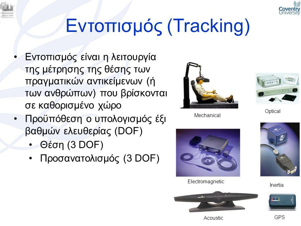 Εντοπισμός (Tracking) •Εντοπισμός είναι η λειτουργία της μέτρησης της θέσης των πραγματικών αντικείμενων (ή των ανθρώπων) που βρίσκονται σε καθορισμέν