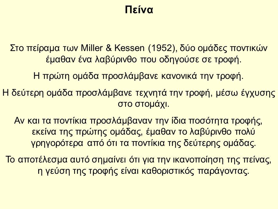 Πείνα Στο πείραμα των Miller & Kessen (1952), δύο ομάδες ποντικών έμαθαν ένα λαβύρινθο που οδηγούσε σε τροφή.
