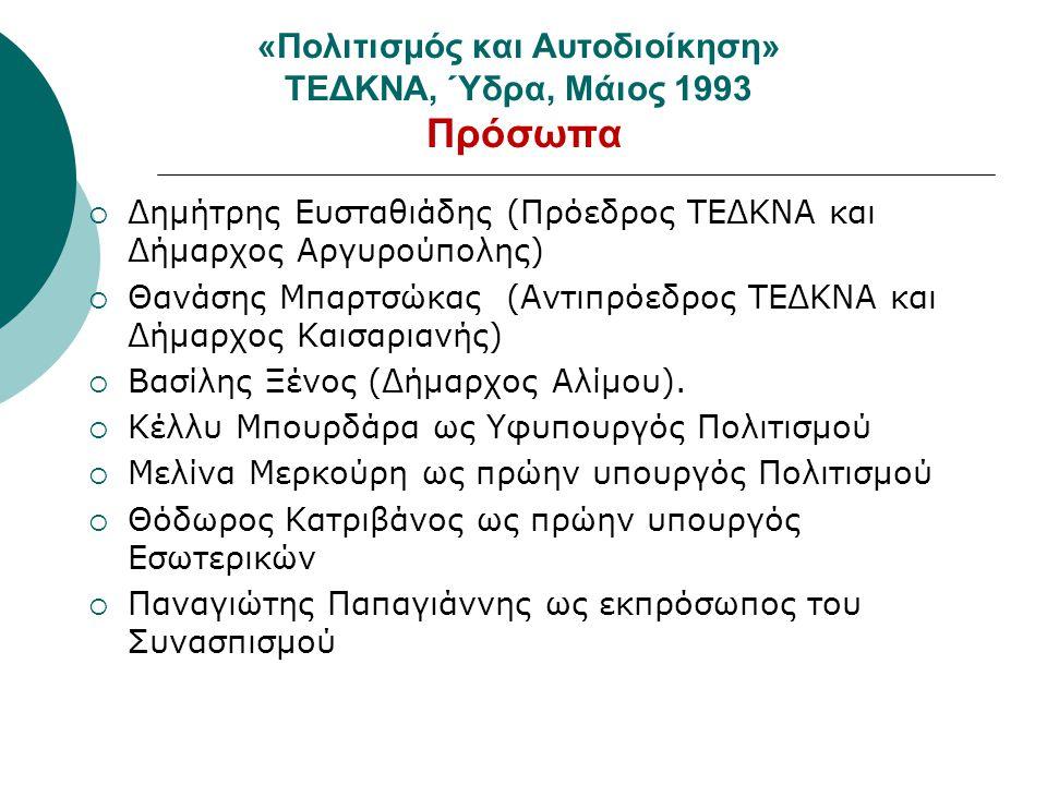 «Πολιτισμός και Αυτοδιοίκηση» ΤΕΔΚΝΑ, Ύδρα, Μάιος 1993 Πρόσωπα  Δημήτρης Ευσταθιάδης (Πρόεδρος ΤΕΔΚΝΑ και Δήμαρχος Αργυρούπολης)  Θανάσης Μπαρτσώκας