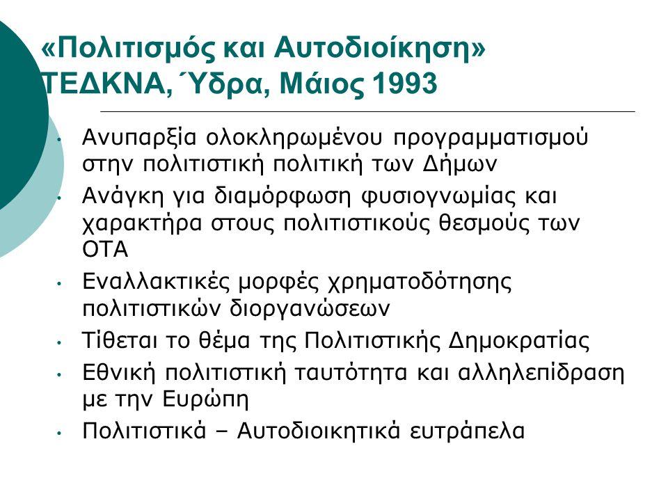 «Πολιτισμός και Αυτοδιοίκηση» ΤΕΔΚΝΑ, Ύδρα, Μάιος 1993 • Ανυπαρξία ολοκληρωμένου προγραμματισμού στην πολιτιστική πολιτική των Δήμων • Ανάγκη για διαμ
