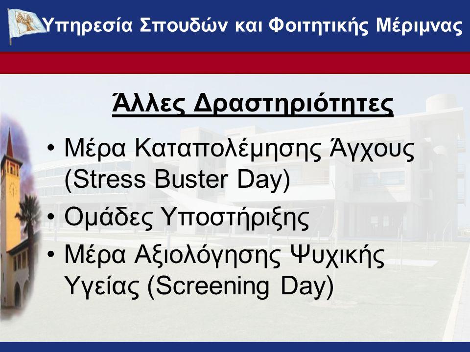 Άλλες Δραστηριότητες •Μέρα Καταπολέμησης Άγχους (Stress Buster Day) •Ομάδες Υποστήριξης •Μέρα Αξιολόγησης Ψυχικής Υγείας (Screening Day) ΥΠΗΡΕΣΙΑ ΣΠΟΥΔΩΝ ΚΑΙ ΦΟΙΤΗΤΙΚΗΣ ΜΕΡΙΜΝΑΣ - www.ucy.ac.cy/fmweb Υπηρεσία Σπουδών και Φοιτητικής Μέριμνας