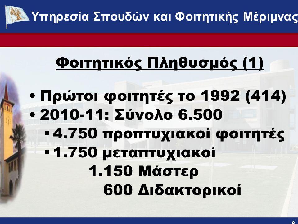Φοιτητικός Πληθυσμός (1) •Πρώτοι φοιτητές το 1992 (414) •2010-11: Σύνολο 6.500  4.750 προπτυχιακοί φοιτητές  1.750 μεταπτυχιακοί 1.150 Μάστερ 600 Διδακτορικοί 8 ΥΠΗΡΕΣΙΑ ΣΠΟΥΔΩΝ ΚΑΙ ΦΟΙΤΗΤΙΚΗΣ ΜΕΡΙΜΝΑΣ - www.ucy.ac.cy/fmweb Υπηρεσία Σπουδών και Φοιτητικής Μέριμνας
