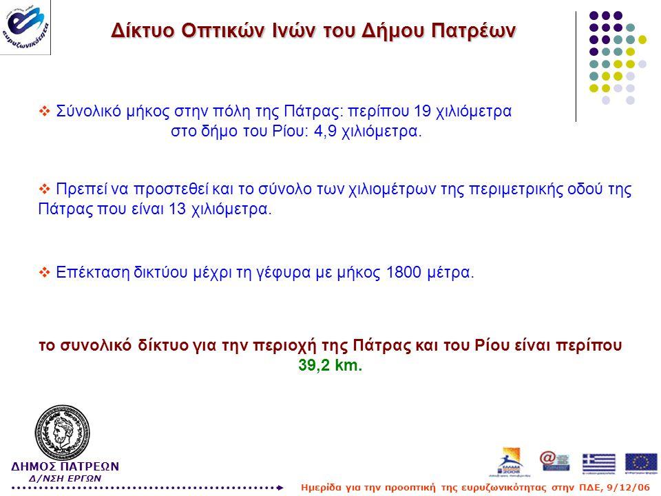 Δίκτυο Οπτικών Ινών του Δήμου Πατρέων  Σύνολικό μήκος στην πόλη της Πάτρας: περίπου 19 χιλιόμετρα στο δήμο του Ρίου: 4,9 χιλιόμετρα.  Πρεπεί να προσ