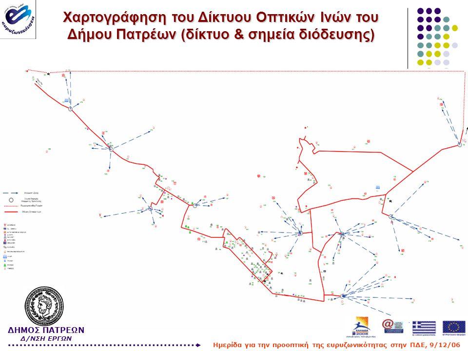 Χαρτογράφηση του Δίκτυου Οπτικών Ινών του Δήμου Πατρέων (δίκτυο & σημεία διόδευσης) ΔΗΜΟΣ ΠΑΤΡΕΩΝ Δ/ΝΣΗ ΕΡΓΩΝ Ημερίδα για την προοπτική της ευρυζωνικό