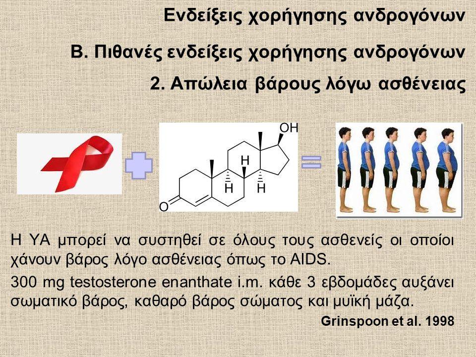Ενδείξεις χορήγησης ανδρογόνων B.Πιθανές ενδείξεις χορήγησης ανδρογόνων 2.