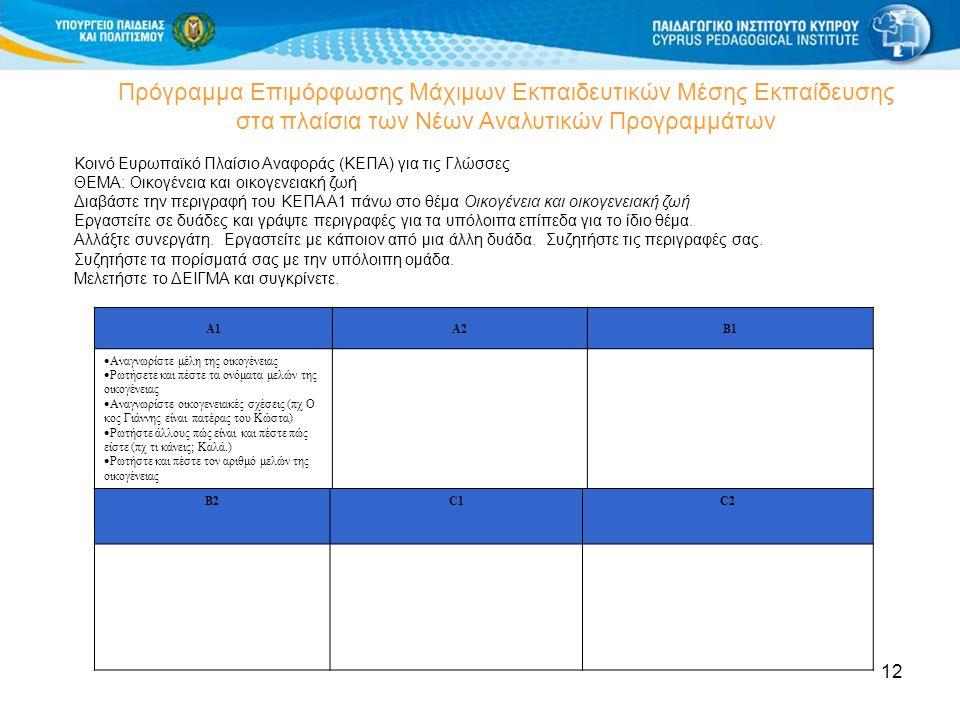 12 Πρόγραμμα Επιμόρφωσης Μάχιμων Εκπαιδευτικών Μέσης Εκπαίδευσης στα πλαίσια των Νέων Αναλυτικών Προγραμμάτων Κοινό Ευρωπαϊκό Πλαίσιο Αναφοράς (ΚΕΠΑ)