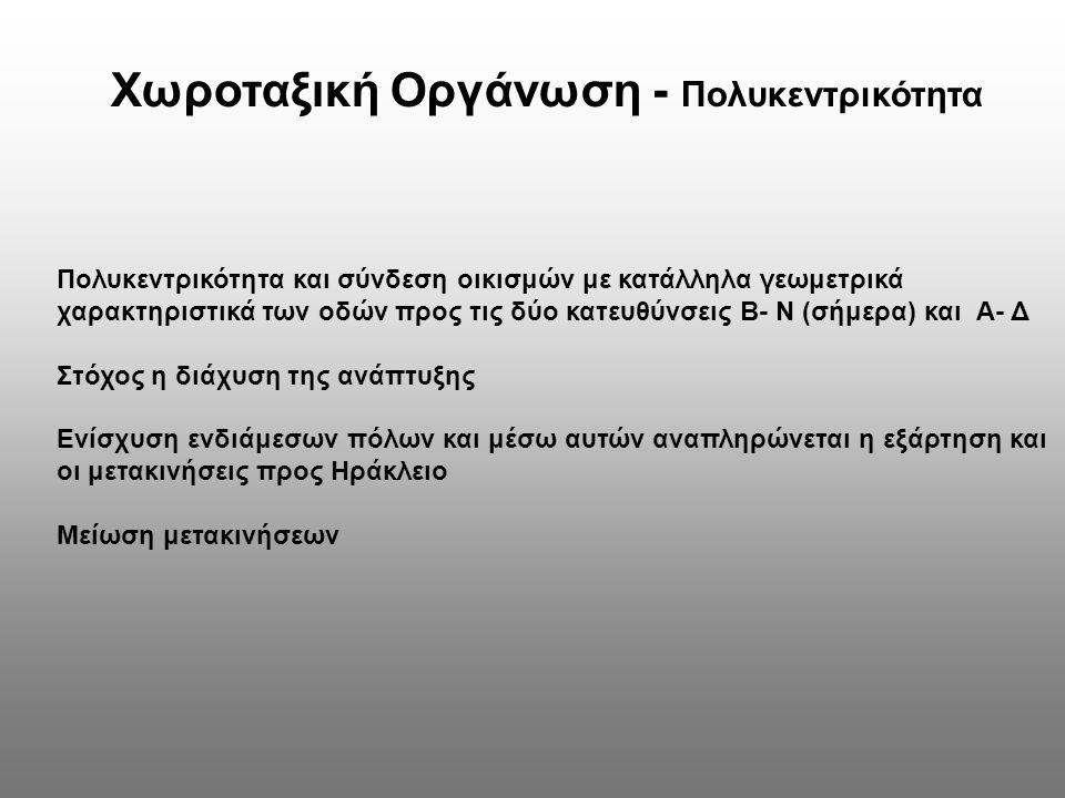 Χωροταξική Οργάνωση - Πολυκεντρικότητα Πολυκεντρικότητα και σύνδεση οικισμών με κατάλληλα γεωμετρικά χαρακτηριστικά των οδών προς τις δύο κατευθύνσεις