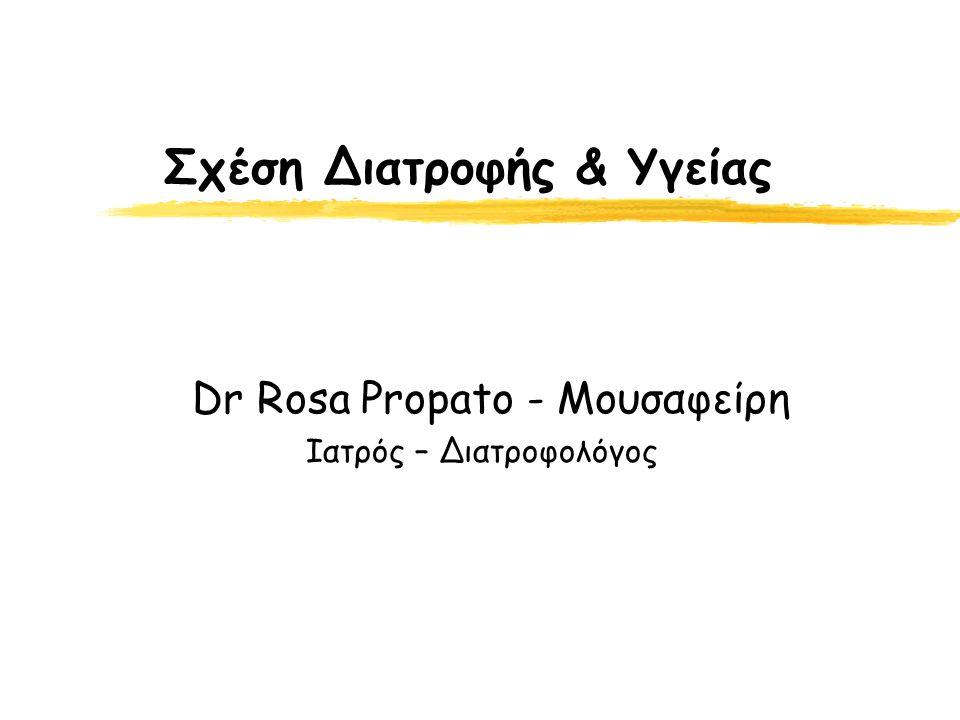 Σχέση Διατροφής & Υγείας Dr Rosa Propato - Μουσαφείρη Ιατρός – Διατροφολόγος