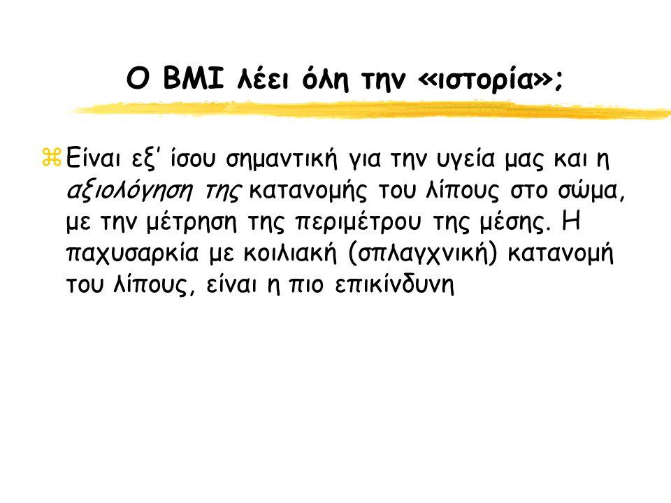 Ο BMI λέει όλη την «ιστορία»; zΕίναι εξ' ίσου σημαντική για την υγεία μας και η αξιολόγηση της κατανομής του λίπους στο σώμα, με την μέτρηση της περιμ