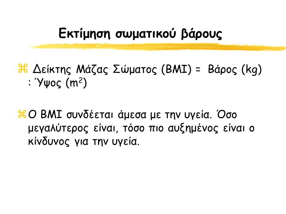 Εκτίμηση σωματικού βάρους  Δείκτης Μάζας Σώματος (ΒΜΙ) = Βάρος (kg) : Ύψος (m 2 ) zΟ BMI συνδέεται άμεσα με την υγεία. Όσο μεγαλύτερος είναι, τόσο πι