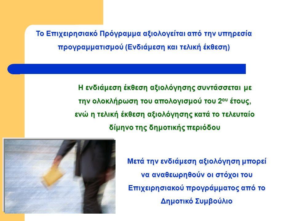 Το Επιχειρησιακό Πρόγραμμα αξιολογείται από την υπηρεσία προγραμματισμού (Ενδιάμεση και τελική έκθεση) Μετά την ενδιάμεση αξιολόγηση μπορεί να αναθεωρηθούν οι στόχοι του Επιχειρησιακού προγράμματος από το Δημοτικό Συμβούλιο Η ενδιάμεση έκθεση αξιολόγησης συντάσσεται με την ολοκλήρωση του απολογισμού του 2 ου έτους, ενώ η τελική έκθεση αξιολόγησης κατά το τελευταίο δίμηνο της δημοτικής περιόδου