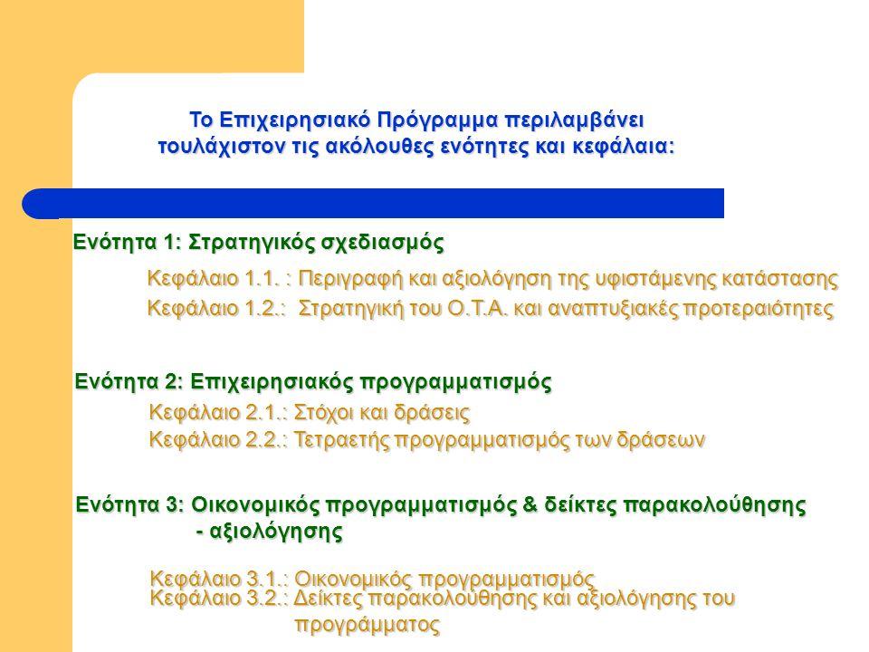 Το Επιχειρησιακό Πρόγραμμα περιλαμβάνει τουλάχιστον τις ακόλουθες ενότητες και κεφάλαια: Ενότητα 1: Στρατηγικός σχεδιασμός Κεφάλαιο 1.1.