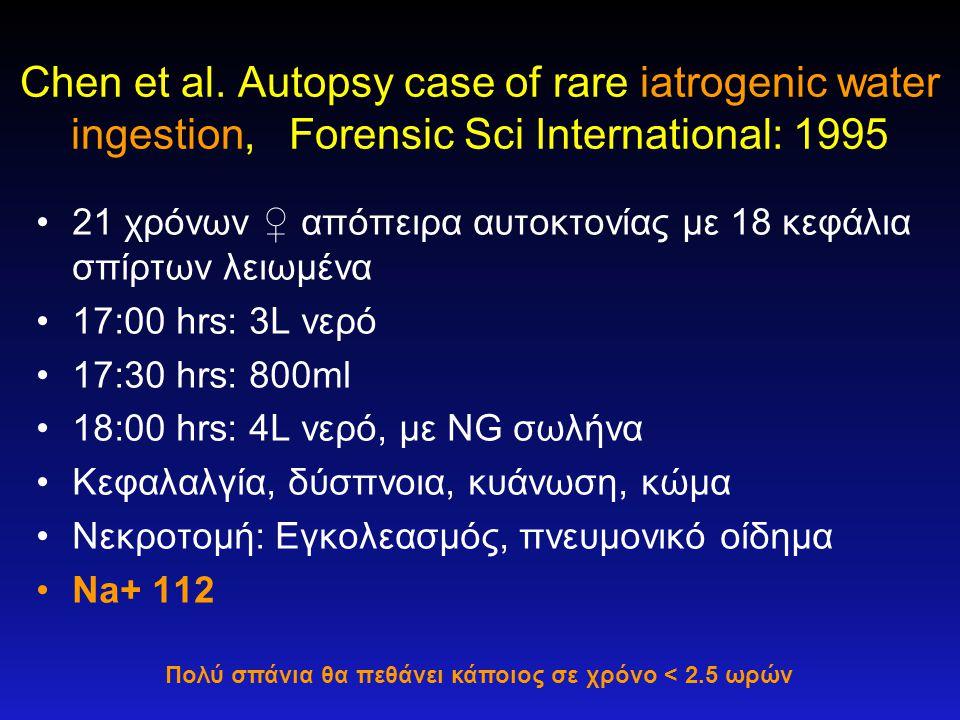 Chen et al. Autopsy case of rare iatrogenic water ingestion, Forensic Sci International: 1995 •21 χρόνων ♀ απόπειρα αυτοκτονίας με 18 κεφάλια σπίρτων