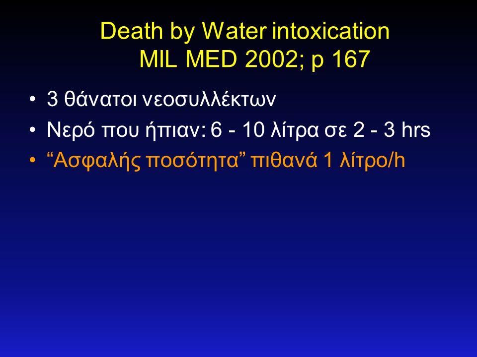 """Death by Water intoxication MIL MED 2002; p 167 •3 θάνατοι νεοσυλλέκτων •Νερό που ήπιαν: 6 - 10 λίτρα σε 2 - 3 hrs •""""Ασφαλής ποσότητα"""" πιθανά 1 λίτρο/"""