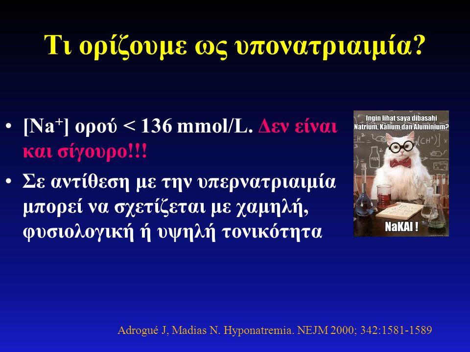 Τι ορίζουμε ως υπονατριαιμία? •[Na + ] ορού < 136 mmol/L. Δεν είναι και σίγουρο!!! •Σε αντίθεση με την υπερνατριαιμία μπορεί να σχετίζεται με χαμηλή,